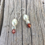 Sterling earrings with white freshwater pearls, sterling cubes and burnt orange Swarovski crystals