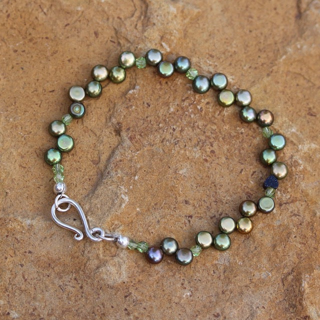 Green freshwater pearls bracelet with Swarovski crystals and sterling hook clasp