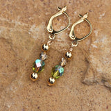 Green and gold crystal earrings with 14k gold-filled ear wires