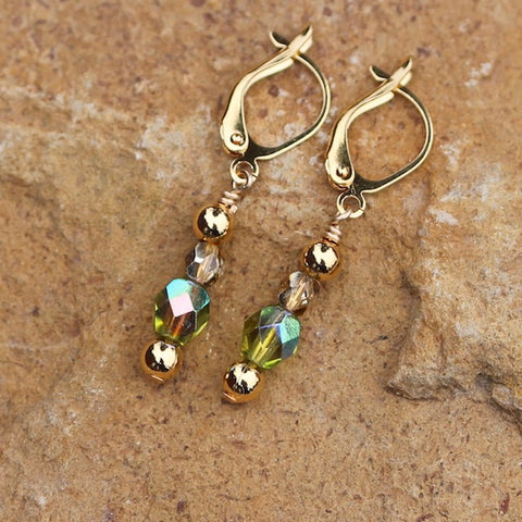 Earrings with green crystals and 14k gold-filled beads