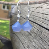 Hanging blue chalcedony earrings with sterling silver ear wires
