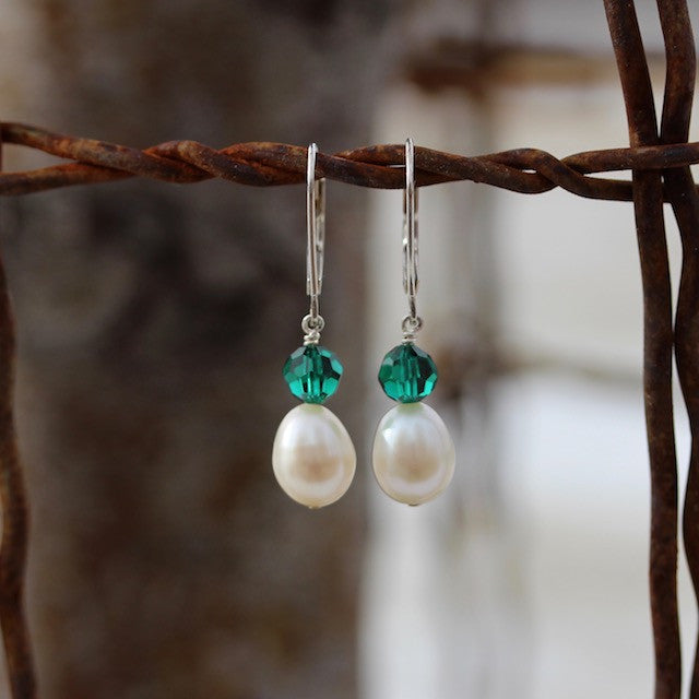Freshwater pearl and green crystal earrings with sterling ear wires