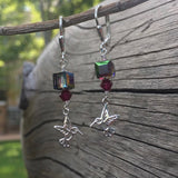 Silver hummingbird charm earrings with Swarovski crystals