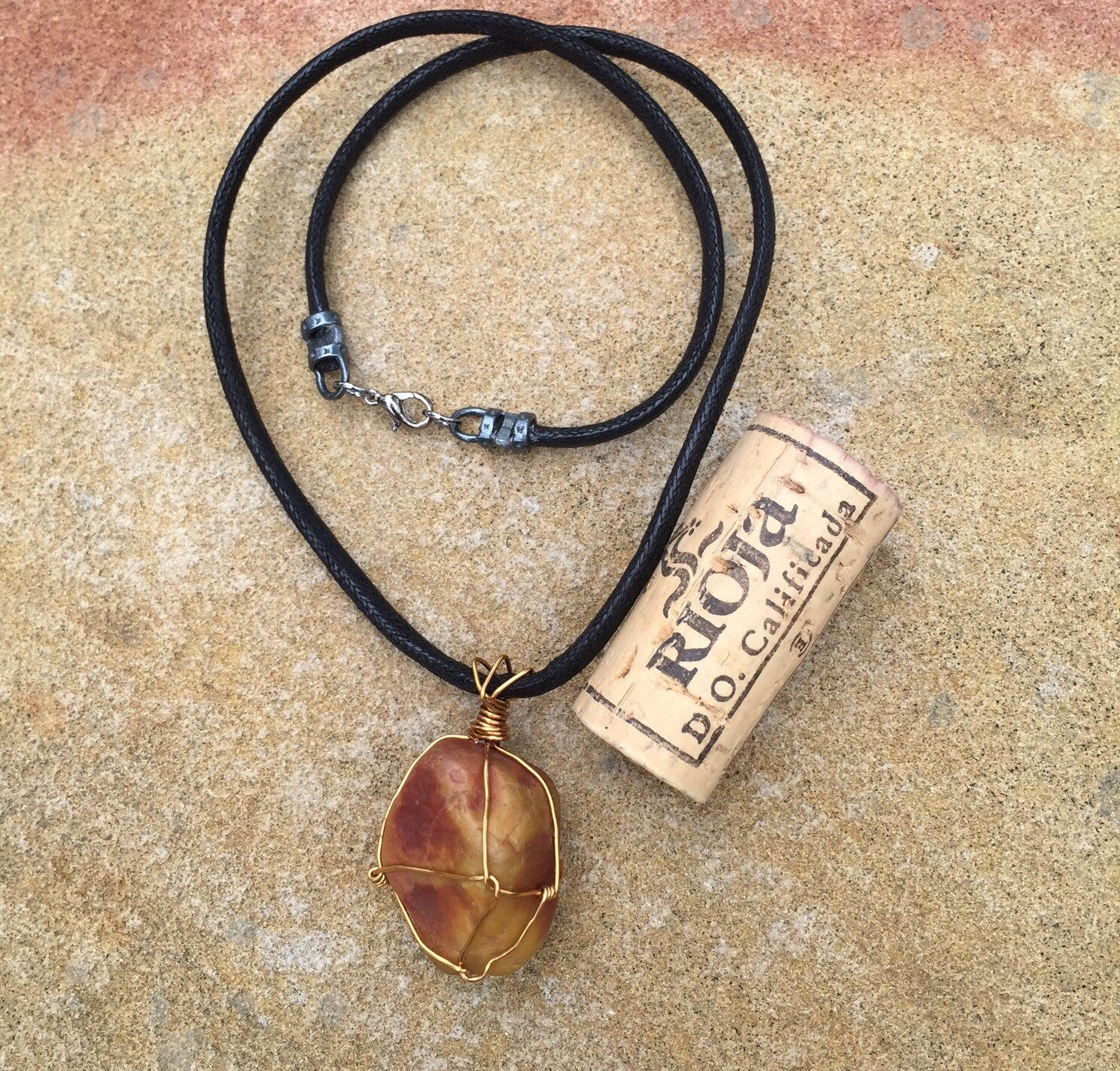 Wire Wrapped Stone Pendant Necklace With Brass Dktdesigns