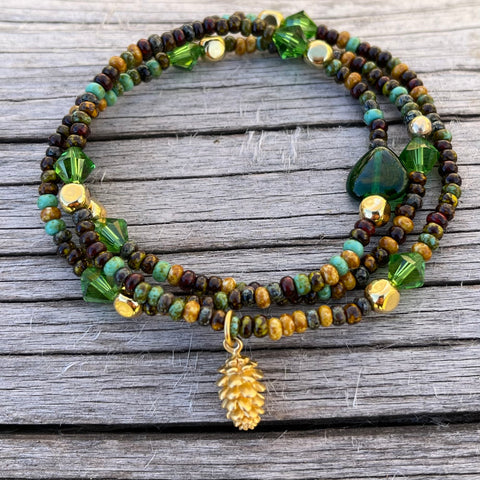 Pine cone charm stretch necklace or triple wrap bracelet