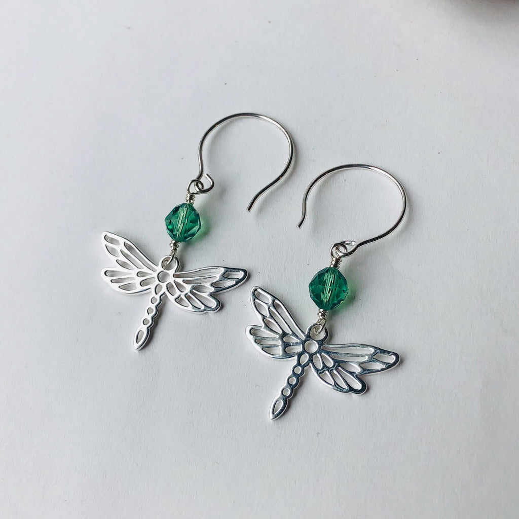 SOLD Sterling dragonfly earrings with green Swarovski crystals
