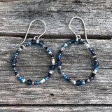 Flexible hoop earrings with seed beads and Swarovski crystals