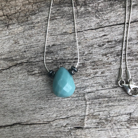 Amazonite drop necklace on sterling silver chain with hematite