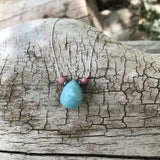 Faceted amazonite drop pendant necklace on sterling chain with hematite and rhodochrosite