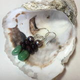 Serpentine, tiger eye and freshwater pearl earrings
