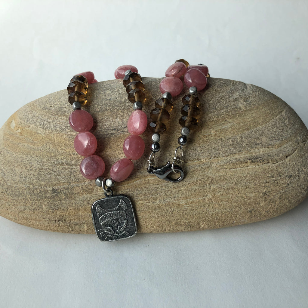 Sterling kitten in hat pendant necklace with pink rhodochrosite and smoky quartz.