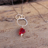 Sterling circles necklace with Swarovski heart pendant in red