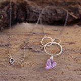 Sterling chain necklace with interlocking circles and purple Swarovski crystal heart pendant