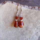 red agate drop earrings with a tiny red jasper star on sterling silver ear wires