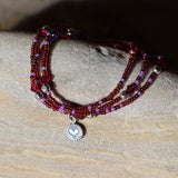 Stretch necklace or triple wrap bracelet with red seed beads and sterling tiny heart charm