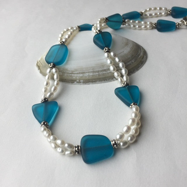Recycled sea glass necklace with two strands of freshwater pearls