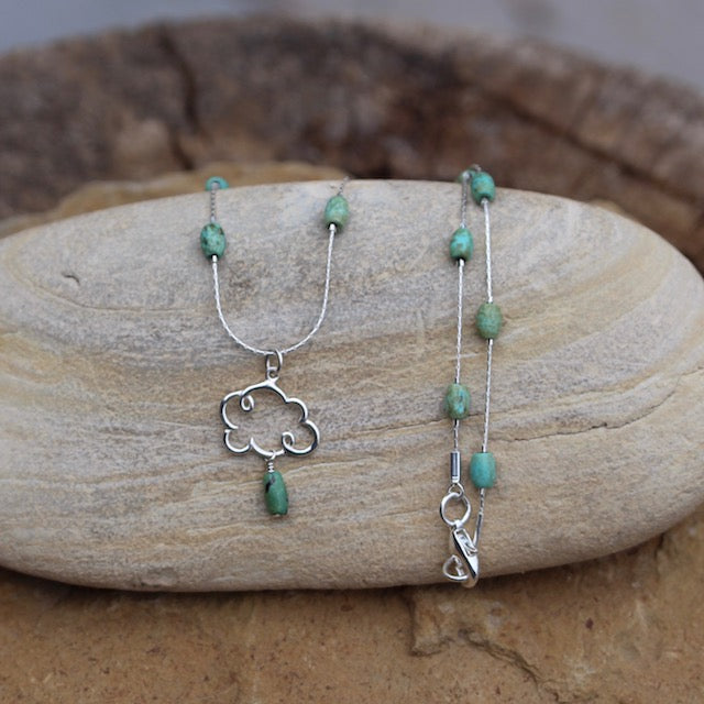 Sterling cloud pendant necklace on sterling chain with turquoise beads