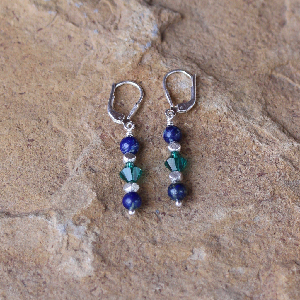 Sterling silver lever back earrings with blue lapis rounds and green Swarovski crystals