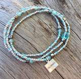 Stretch necklace or triple wrap bracelet in aqua and silver with Colorado charm