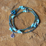 Stretch necklace or triple wrap bracelet with silver plated compass charm and turquoise chips