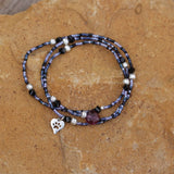 Stretch necklace or triple wrap bracelet with silver paw heart charm