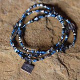 Stretch necklace or triple wrap bracelet in blue, black and white with Colorado charm