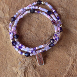 Purple beaded stretch necklace or triple wrap bracelet with sterling believe charm.