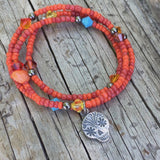 Stretch triple wrap bracelet or necklace with sterling silver sugar skull charm