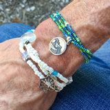 Stretch necklace or triple wrap bracelet with sterling mountains charm and green seed beads