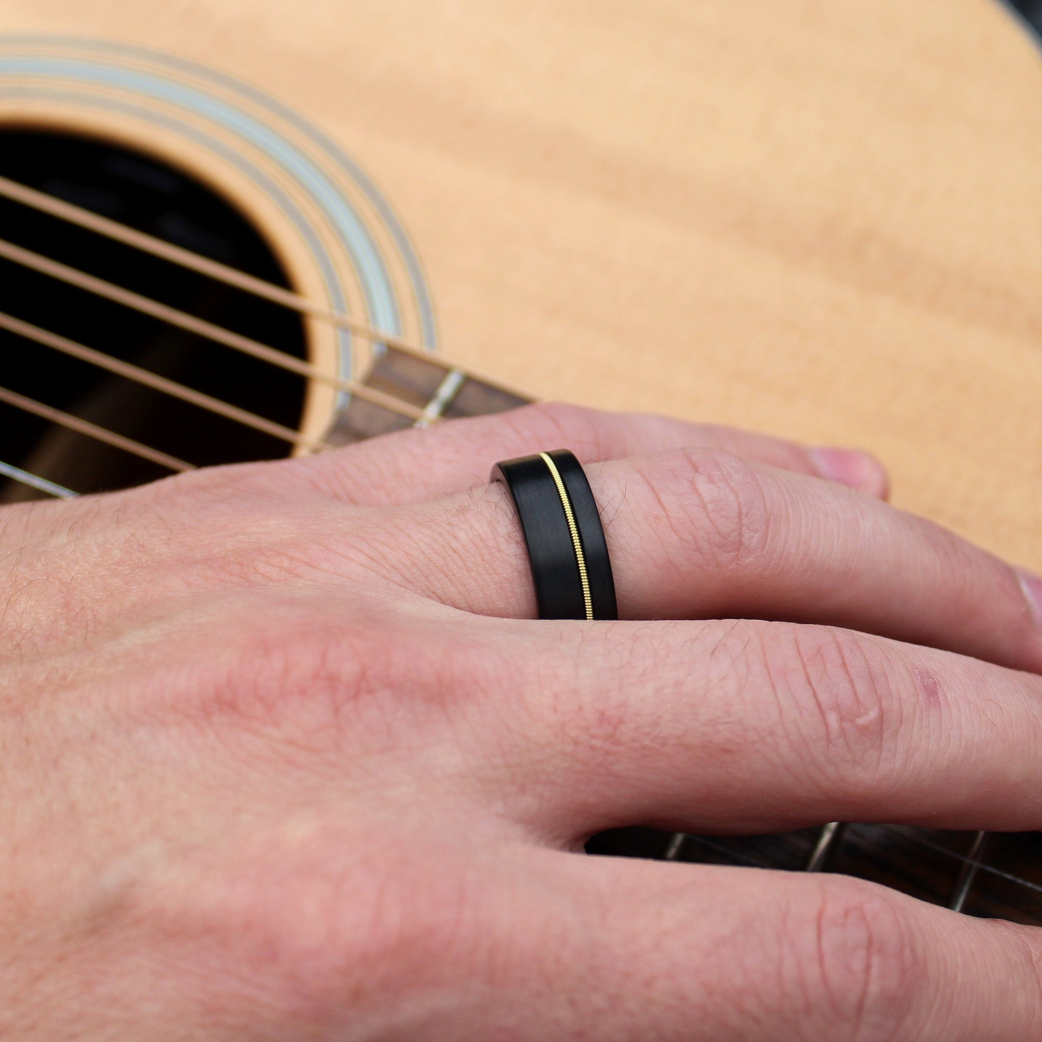 Black Tungsten and Guitar String Ring – Grand Junction Guy
