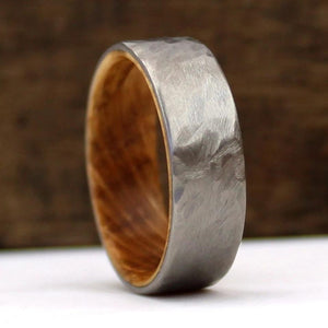 Whiskey Wood Ring, Jack Daniel's Ring, Whiskey Barrel Ring, Titanium Ring, Hammered Ring, Whiskey Oak, Oak Wood Ring, Handmade Wedding Ring