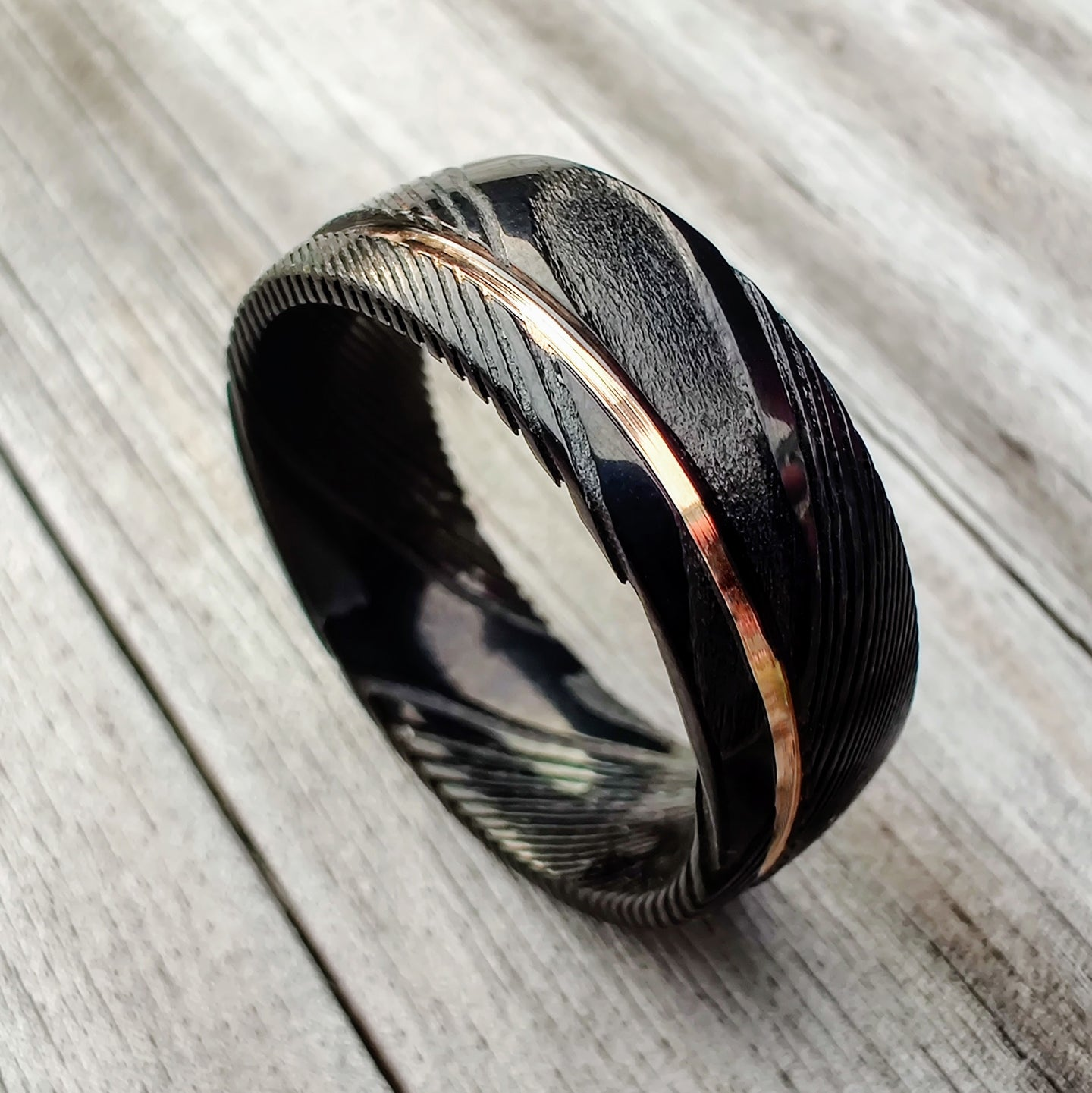 Black Damascus and Rose Gold Ring | Northbands