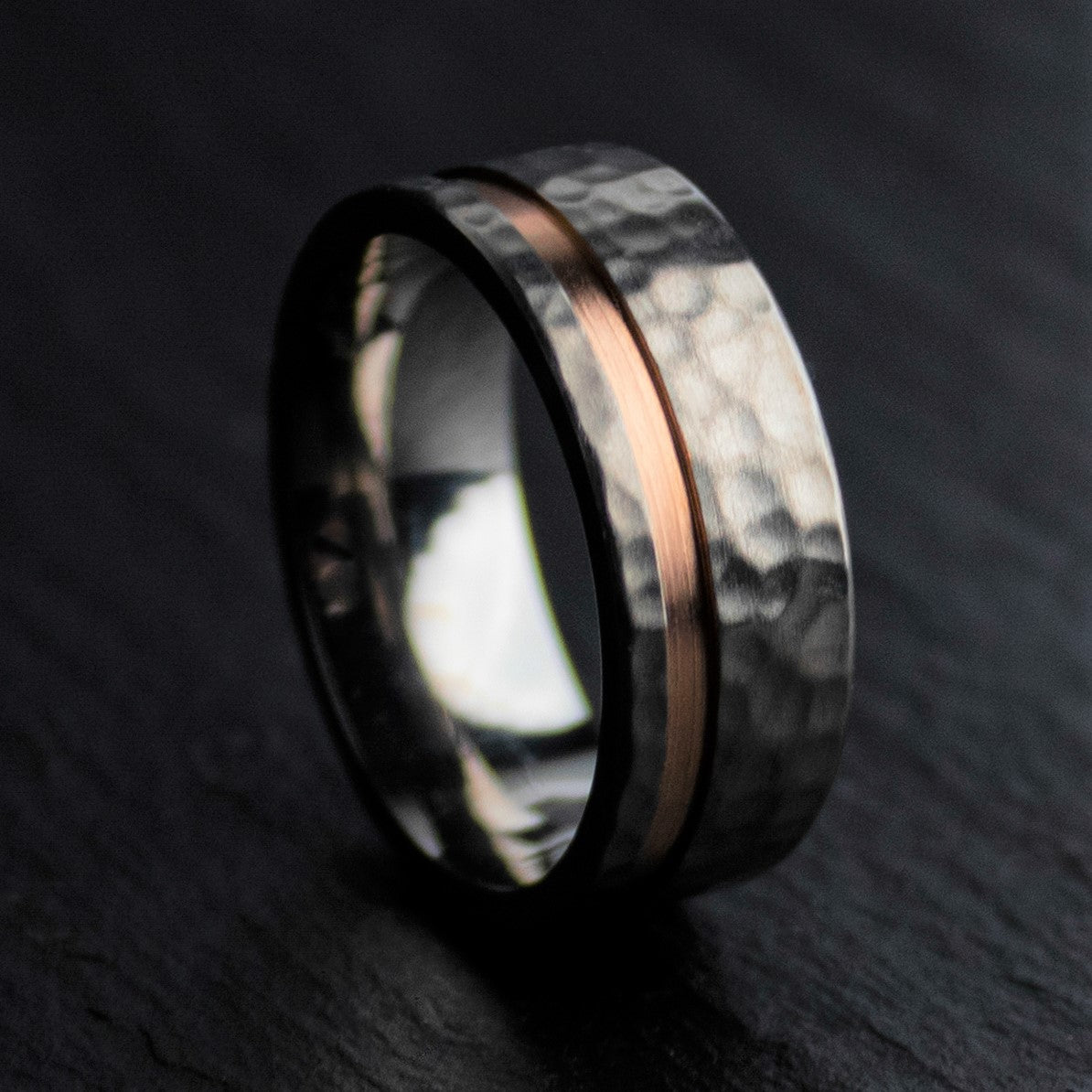 Hammered Titanium and Rose Gold Ring | Northbands