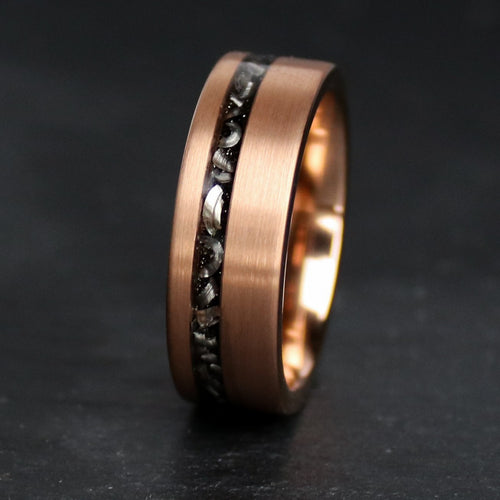 18k Rose gold and Meteorite Ring | Northbands