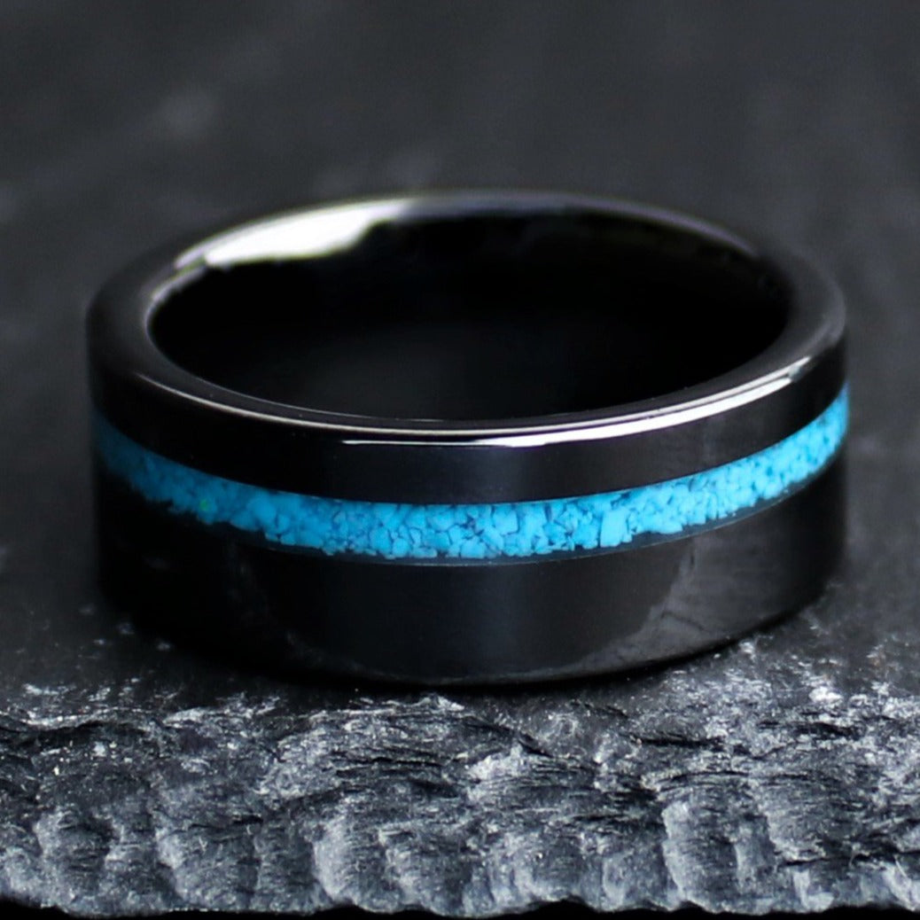 Turquoise Men's Wedding Band, Stone Men's Ring, Blue Line Ring | Northbands