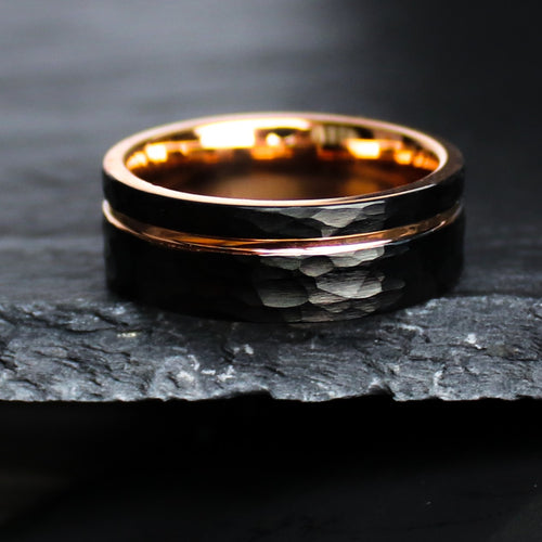 Hammered Black Rose Gold Wedding Ring | Northbands