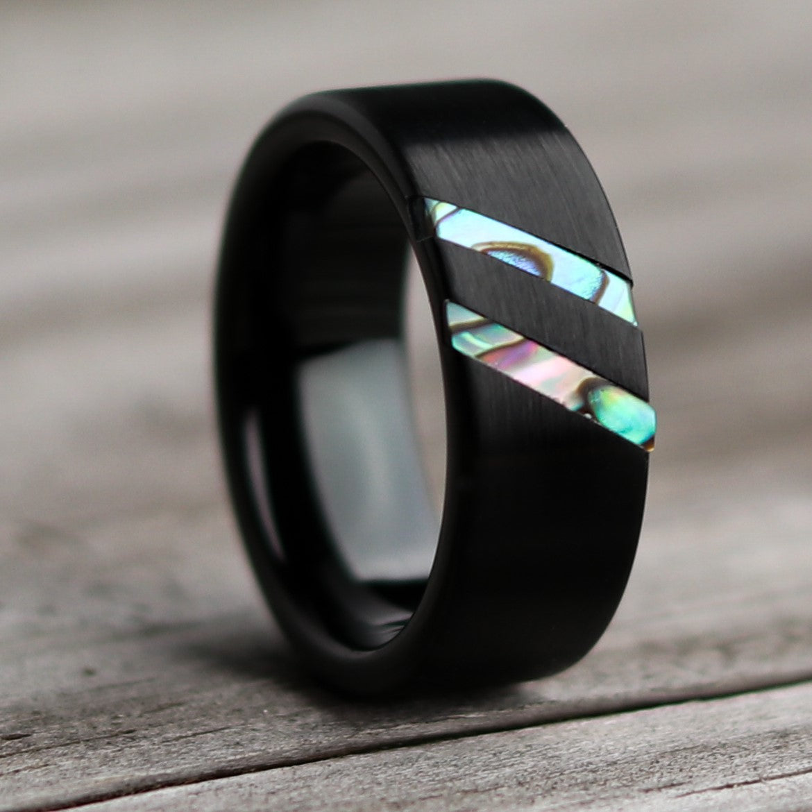 Blue Paua Abalone Wedding Ring | Northbands