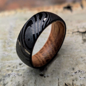 Black Damascus and Whiskey Barrel Ring | Northbands