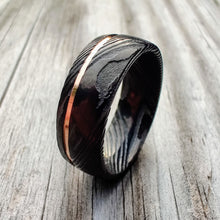 Load image into Gallery viewer, Black Damascus and Rose Gold Ring | Northbands