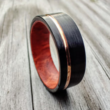 Rosewood Burl and Black Tungsten with Rose Gold