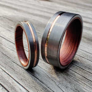 Ironwood, Tungsten and Rose Gold Set