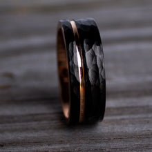 Load image into Gallery viewer, Hammered Black Rose Gold Wedding Ring | Northbands