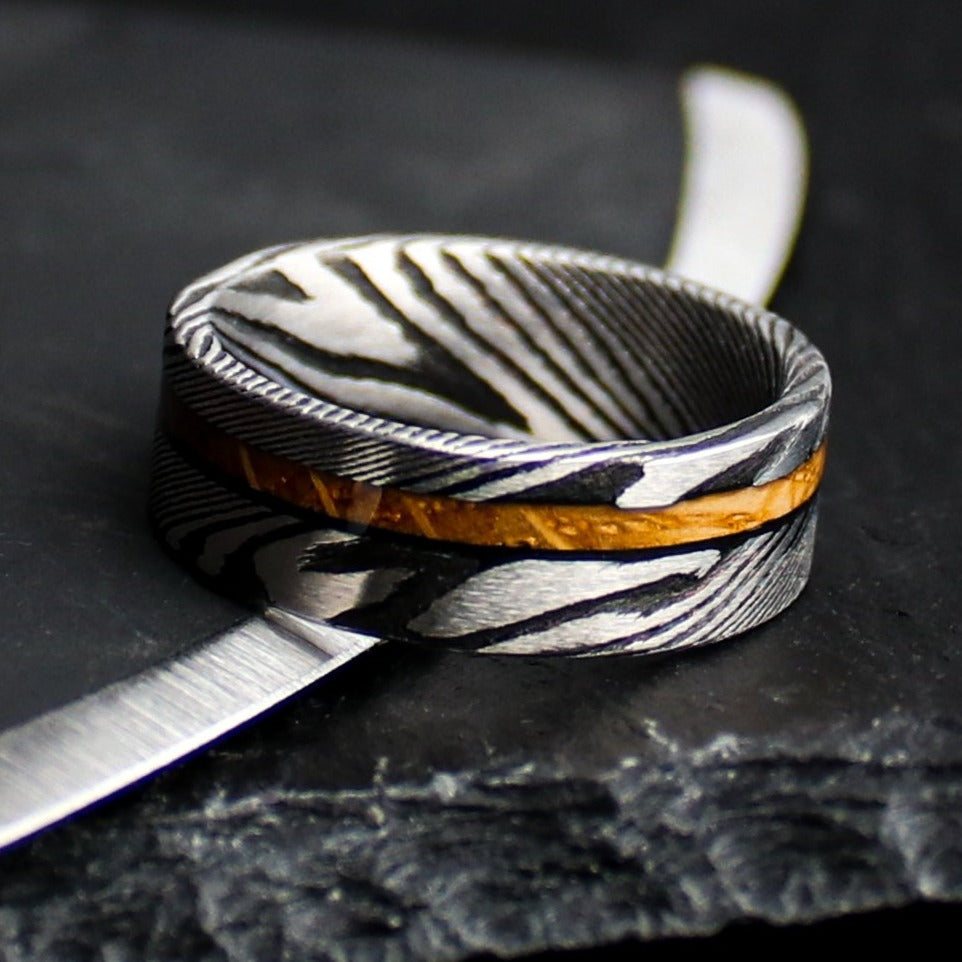 Whiskey Barrel and Damascus Ring | Northbands