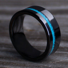Load image into Gallery viewer, Turquoise Men's Wedding Band, Stone Men's Ring, Blue Line Ring | Northbands