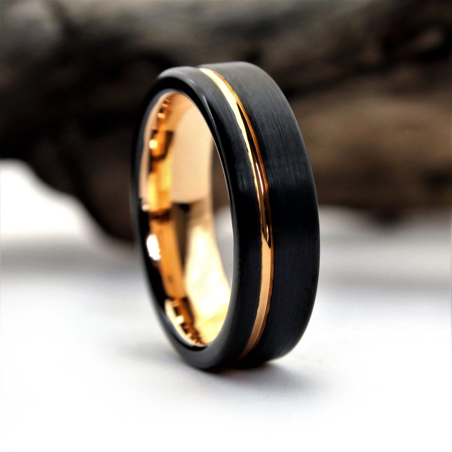 6 mm Black Rose Gold Wedding Ring | Northbands
