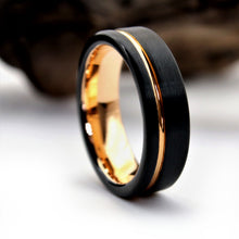 Load image into Gallery viewer, 6 mm Black Rose Gold Wedding Ring | Northbands