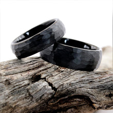Load image into Gallery viewer, Hammered Black Tungsten Ring Set | Northbands