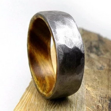 Load image into Gallery viewer, Hammered Ironwood Wedding Ring | Northbands