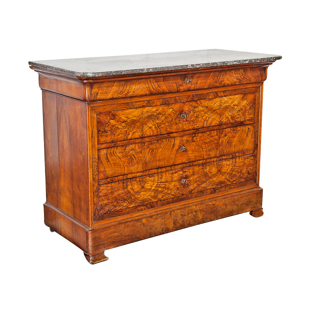 Flame Mahogany Louis Philippe Commode France C. 1860