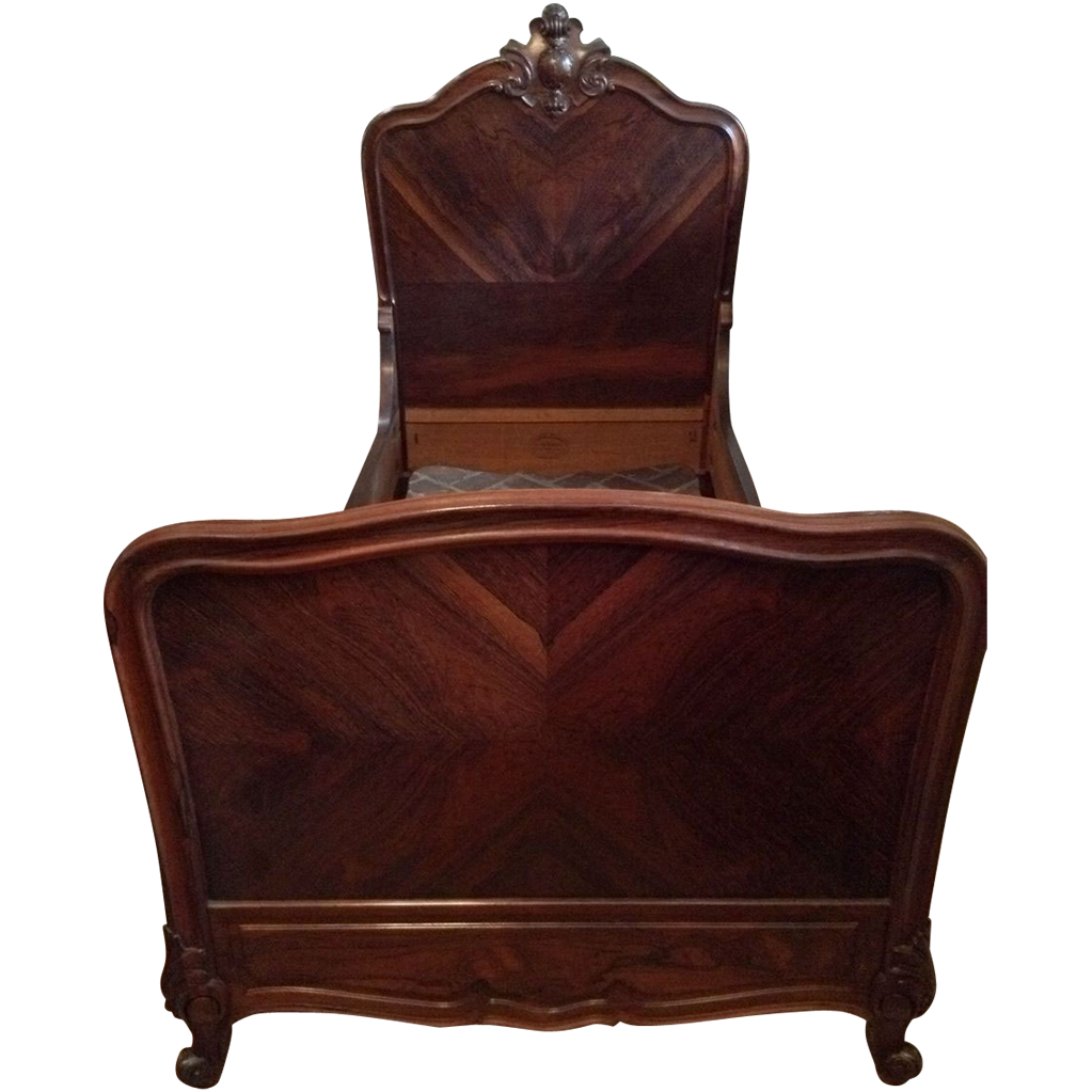Antique Paris Louis XV Turn of the Century Rosewood beds